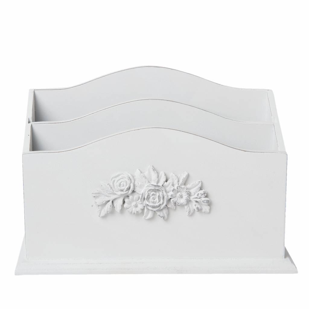 Wohnaccessoires Landhausstil Briefständer Altweiß