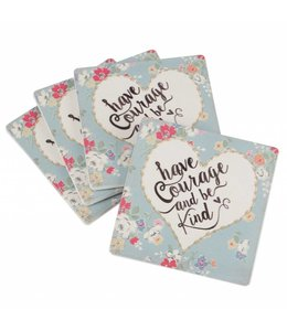 """Shabby Chic Untersetzer """"have Courage and be Kind"""", 4er-Set"""