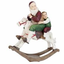 Villa Jähn Landhaus Kollektion Weihnachtsmann auf Schaukelpferd 45x18x50