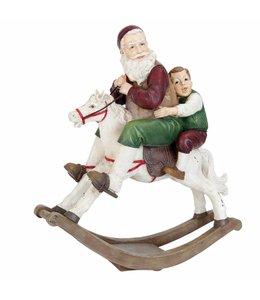 Landhaus Weihnachtsmann auf Schaukelpferd 45x18x50