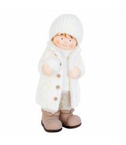 Garten Junge mit Schneeball