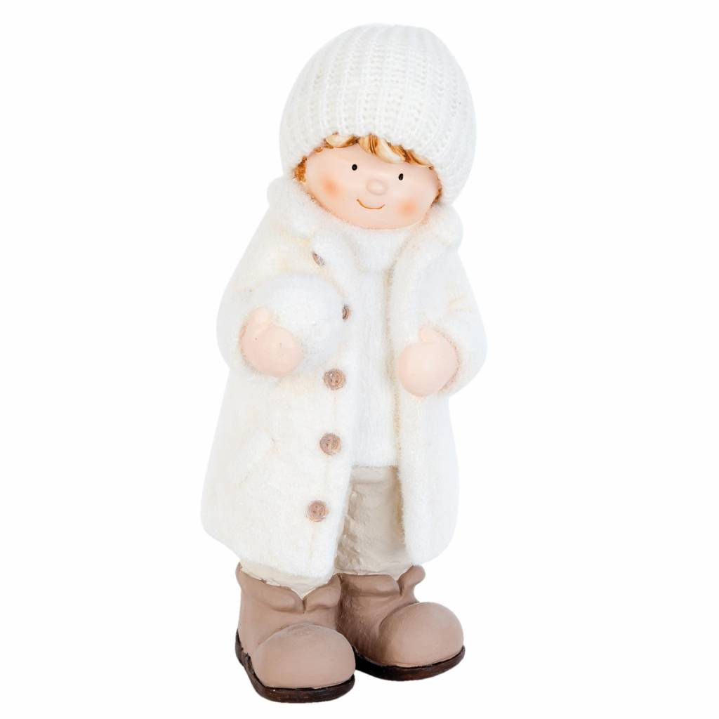 Wohnaccessoires Landhausstil Junge mit Schneeball