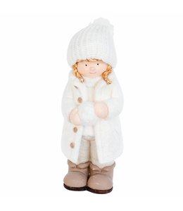 Garten Mädchen mit Schneeball