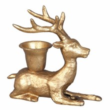 Wohnaccessoires Landhausstil Kerzenständer Hirsch Gold