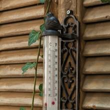 Wohnaccessoires Landhausstil Gartenthermometer mit Spatz
