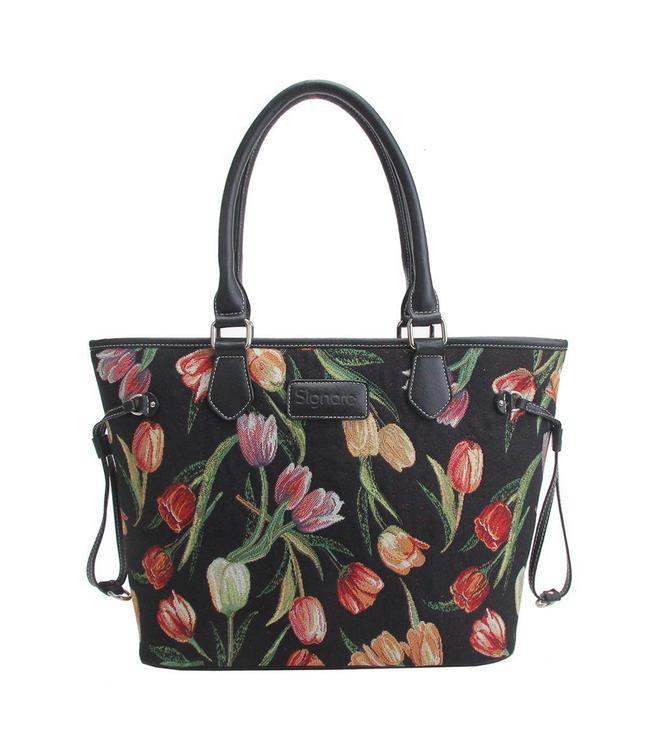 """Garten Damenhandtasche """"Tulpen"""" schwarz"""