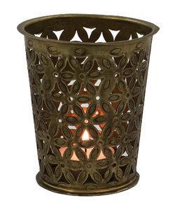 Landhaus Kerzenhalter Messing für Teelichter