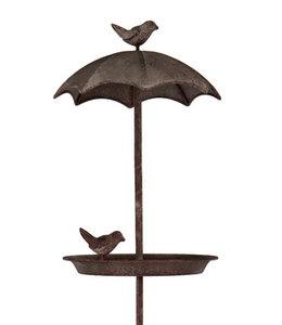 Vogelbad aus Metall zum Stecken in den Gartenboden