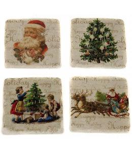 """Glasuntersetzer Keramik """"Weihnachten im Landhaus"""""""