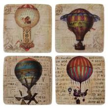 "Wohnaccessoires Landhausstil Glasuntersetzer ""Heißluftballons"" Keramik, 4er-Set"