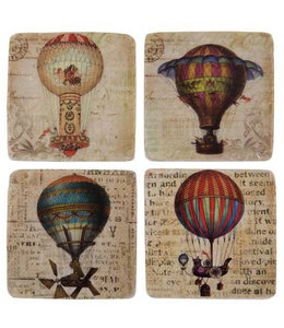 "Shabby Chic Glasuntersetzer ""Heißluftballons"" Keramik, 4er-Set"