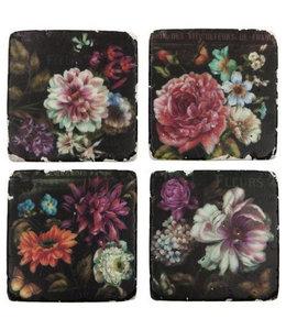 """Glasuntersetzer Keramik """"Nostalgie Blumen"""", 4er-Set"""