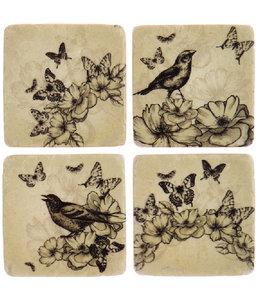 """Shabby Chic Glasuntersetzer """"Vögel & Schmetterlinge"""" Keramik, 4er-Set"""