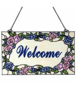 "Shabby Chic Tiffany Fensterbild ""Welcome"""
