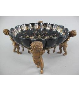 Landhausstil Porzellanschale mit Engeln aus Messing