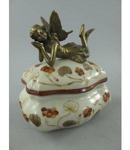Landhausstil Porzellanschale mit Engel aus Messing