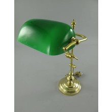 Wohnaccessoires Landhausstil Bankerlampe Messing mit grünem Schirm