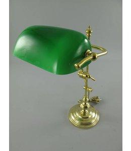 Landhaus Bankerlampe Messing mit grünem Schirm