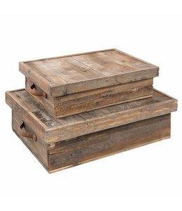 Rustikale Holzkisten 2er-Set im alpenländlichen Landhausstil