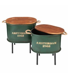 """Landhaus Beistelltische """"Amsterdam 1968"""" British-Green 2er-Set"""