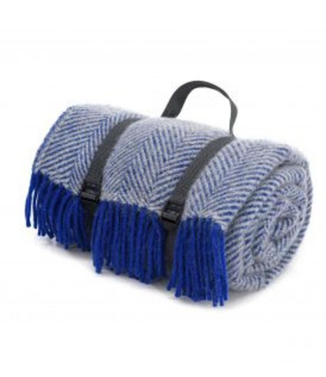 "Tweedmill Picknickdecke Polo mit Leder-Trageset ""Herringbone Royal Blue"""