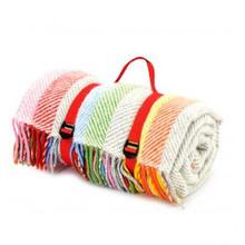 "Tweedmill Picknickdecke Polo mit Leder-Trageset ""Rainbow Grey Stripe"""