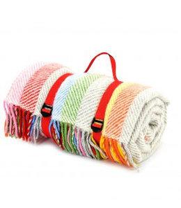 """Picknickdecken Landhausstil Picknickdecke Polo mit Leder-Trageset """"Rainbow Grey Stripe"""""""
