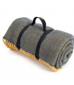 "Tweedmill Picknickdecke ""Polo"" mit Leder-Trageset ""HB Navy & Mustard"""