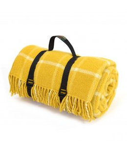 "Tweedmill Picknickdecke Polo mit Leder-Trageset ""Check Yellow"""