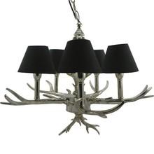 Wohnaccessoires Landhausstil Deckenlampe mit Geweih, silber