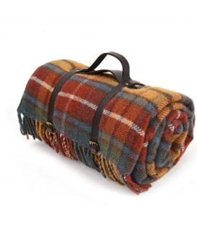 """Tweedmill Picknickdecke Polo mit Leder-Trageset """"Antique Buchanan"""""""