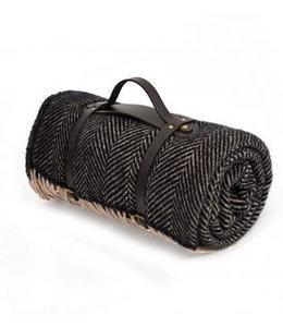 "Tweedmill Picknickdecke Polo mit Leder-Trageset ""Herringbone Vintage"""