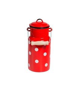 Landhaus Milchkanne Emaille 2 Liter, rot