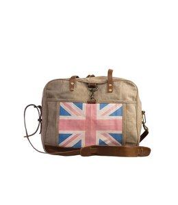 """Landhaus Englische Canvas-Tasche """"Great Britain"""" mit Leder"""