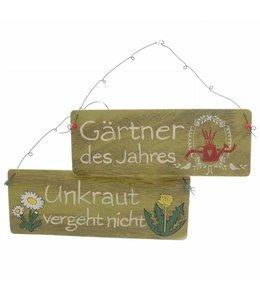 """Landhaus Schilder-Set """"Unkraut vergeht nicht"""" & """"Gärtner des Jahres"""""""