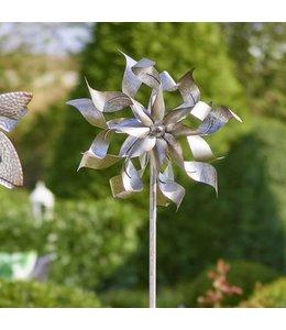 Shabby Chic Windmühle aus Metall auf Stab, Höhe 180 cm