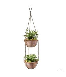 Garten Blumenampel aus Metall mit 2 Tontöpfen