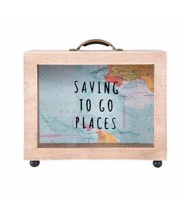 "Shabby Chic Spardose ""Saving to go Places"" Holz"