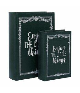 Shabby Chic Aufbewahrungsschachteln in Buchform 2er-Set im englischen Landhausstil