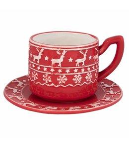 """Shabby Chic Kaffeetasse mit Untertasse """"Nordischer Winter"""""""