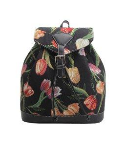 Country Style Rucksack Tulpen schwarz