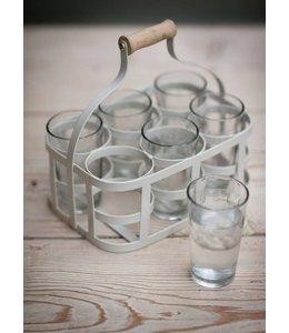 Glasträger und 6 Gläser, grau ♛ Englischer Landhausstil