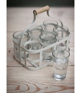 Landhaus Glasträger und 6 Gläser, grau ♛ Englischer Landhausstil