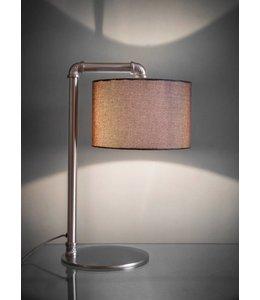 Landhaus Lampen Tischlampe Nickel matt