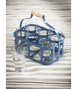 Landhaus Glasträger und 6 Gläser, blau