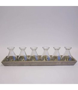 Garten Tablett aus Holz mit 6 Vasen