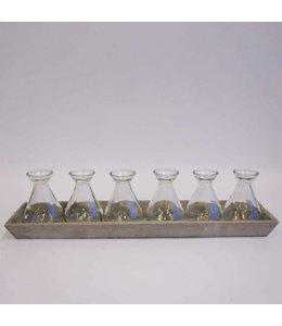 Tablett aus Holz mit 6 Vasen