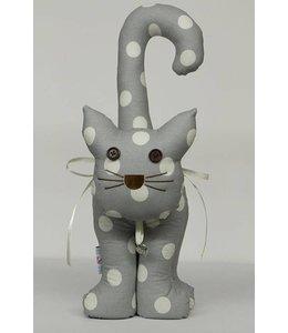 Shabby Chic Türstopper Katze, silber mit weißen Punkten