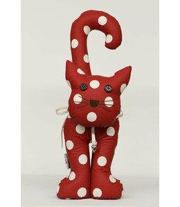 Shabby Chic Türstopper Katze, rot mit weißen Punkten