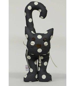 Shabby Chic Türstopper Katze, dunkelblau mit weißen Punkten